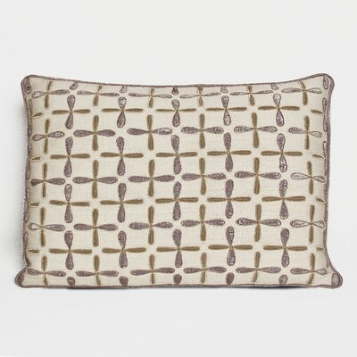 Petal Flower Embellished Linen Lumbar Pillow Color: Iris, Size: 15 x 19