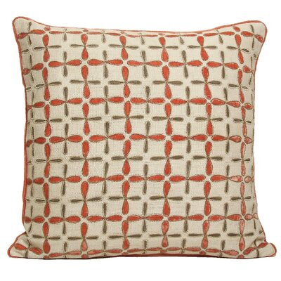 Petal Flower Embellished Linen Pillow Color: Coral