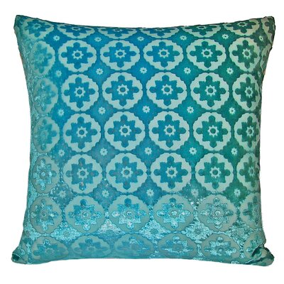 Small Moroccan Metallic Velvet Throw Pillow Color: Aqua