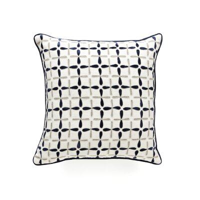Petal Flower Embellished Linen Throw Pillow Color: Indigo/Multi