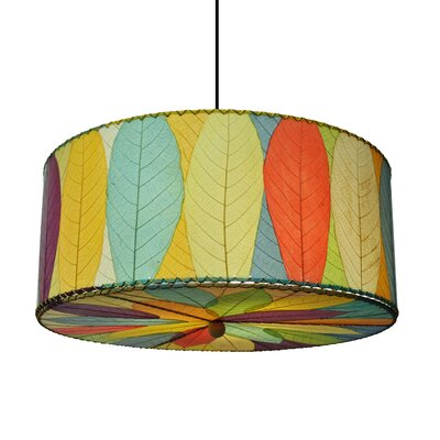 Hanging 3-Light Drum Pendant Shade Color: Sea Blue/Green/Red