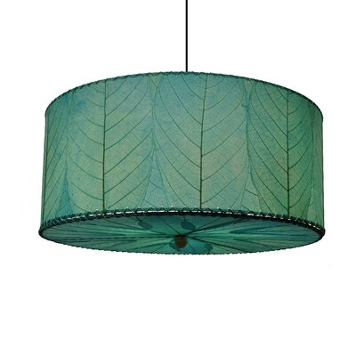 Hanging 3-Light Drum Pendant Shade Color: Sea Blue