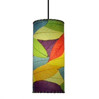 Cylinder 1-Light Mini Pendant Shade Color: Green/Purple/Sea Blue