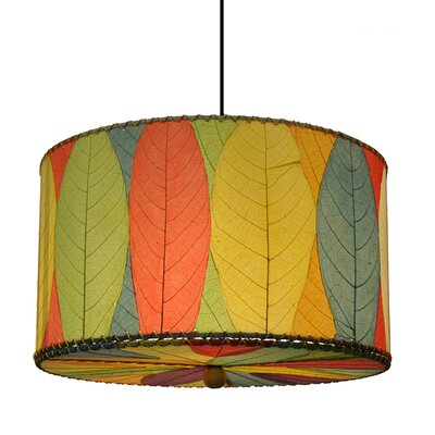 3-Light Drum Pendant Shade Color: Green/Red/Orange