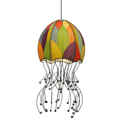 Hanging Jellyfish 1-Light Foyer Pendant Shade Color: Green/Orange/Purple