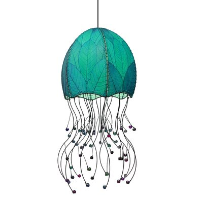 Jellyfish Hanging 1-Light Foyer Pendant Shade Color: Sea Blue