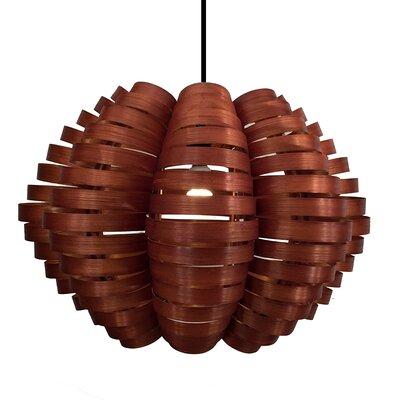 Bamboo Slat Striped 1-Light Mini Pendant