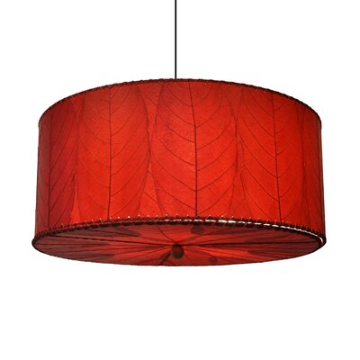 Hanging 3-Light Drum Pendant Shade Color: Red