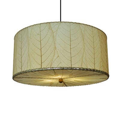 Hanging 3-Light Drum Pendant Shade Color: Natural