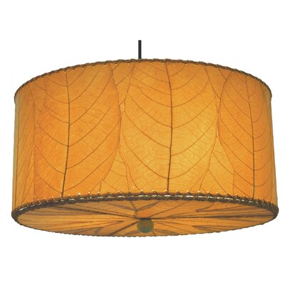 Hanging 3-Light Drum Pendant Shade Color: Orange