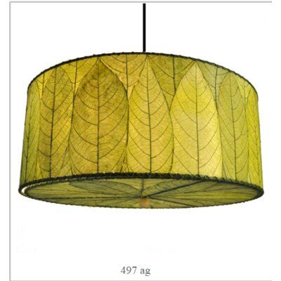 Hanging 3-Light Drum Pendant Shade Color: Green