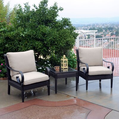 Roma Club 3 Piece Deep Seating Group with Cushions Fabric: B Grade