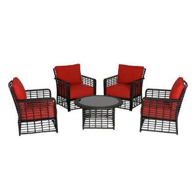Melrose Chat 5 Piece Deep Seating Group with Cushions Fabric: B Grade