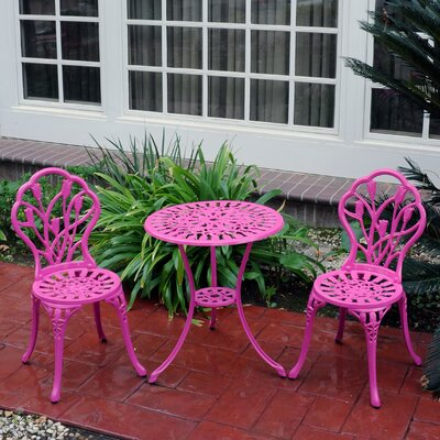 3 Piece Bistro Set Finish: Pink