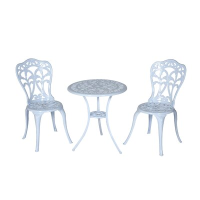 Flora 3 Piece Bistro Set Finish: White