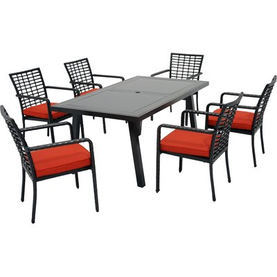 Melrose 7 Piece Dining Set with Cushions Fabric: B Grade