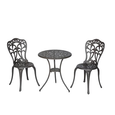 Flora 3 Piece Bistro Set Finish: Walnut