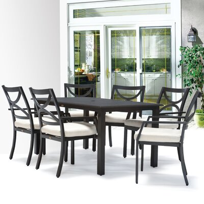 Verona 7 Piece Dining Set with Cushions Finish: Walnut