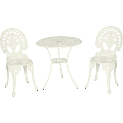 Royal Crown 3 Piece Bistro Set Finish: White