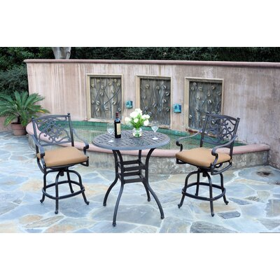 Kingston 3 Piece Bar Set Fabric: Canvas Teak, Finish: Black