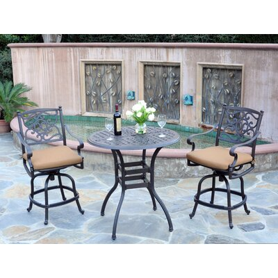 Kingston 3 Piece Bar Set Finish: Black, Fabric: Canvas Teak