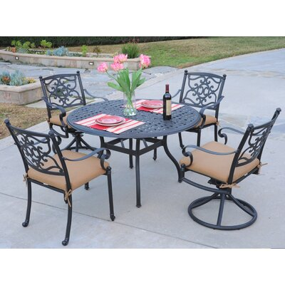 Kingston 5 Piece Dining Set Fabric: Canvas Teak, Finish: Black