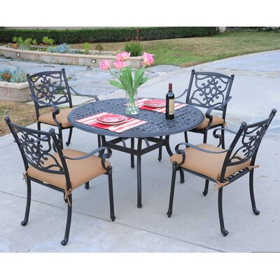 Kingston 5 Piece Dining Set Finish: Walnut, Fabric: Dupione Celeste