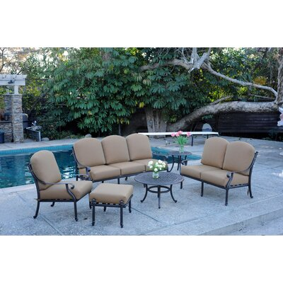 Kingston 6 Piece Deep Seating Group with Cushions Finish: Walnut, Fabric: Linen Sesame