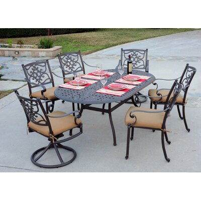 Kingston 7 Piece Dining Set Finish: Walnut, Fabric: Davidson Redwood