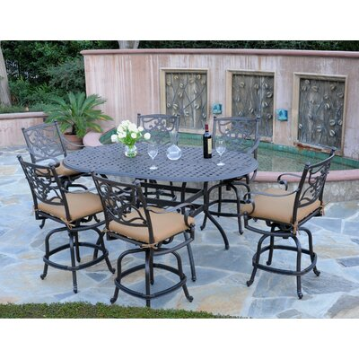 Kingston 7 Piece Bar Set Fabric: Davidson Redwood, Finish: Black
