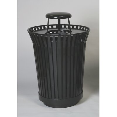 WITT Stadium Series River City 24 Gallon Round Receptacle - Finish: Green, Lid: Dome top