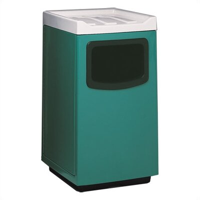 Food Court 47-Gal Fiberglass Series Square Receptacle with Doors on Trash Opening and Side Color: Plum, Edge Protectors: No edge Protectors