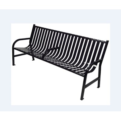 WITT Outdoor Slatted Metal Bench - Finish: Black, Size: 6', Arm Rest: Yes at Sears.com