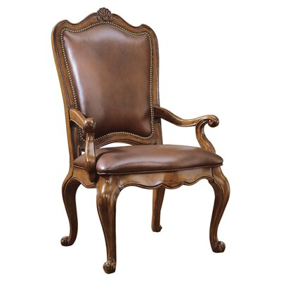 Villa Cortina Arm Chair (Set of 2) Upholstery: Leather - Rich Brown