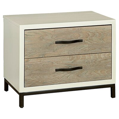 Pearson 2 Drawer Nightstand Color: Gray/Parchment