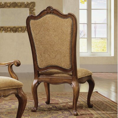 Villa Cortina Side Chair (Set of 2) Upholstery: Fabric - Tan Pattern