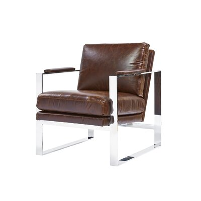 Meggan Stainless Steel Arm Chair Upholstery: Brompton Brown