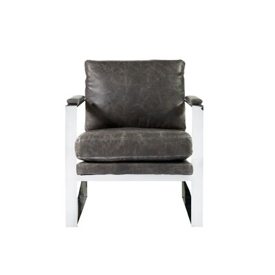 Meggan Stainless Steel Arm Chair Upholstery: Brentwood Wolf Gray