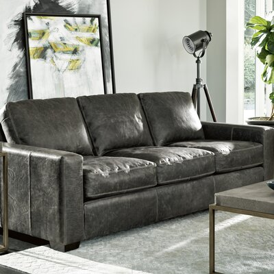 Dansville Three Seat Full Top Grain Leather Sofa Upholstery: Gray