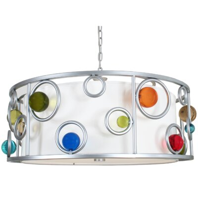 Free Wheeling Wheels to Go 3-Light Drum Pendant
