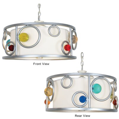 Free Wheeling Fast Moving Wheels 3-Light Drum Pendant