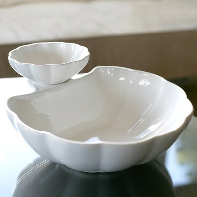 Shell Chip And Dip In White Luster Glaze