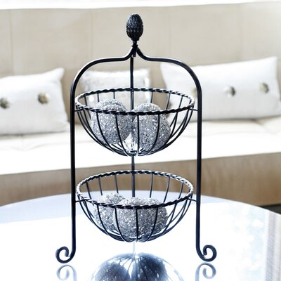 Pineapple Finial Two Tier Basket In Brushed Copper