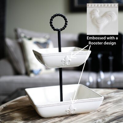 Rooster Two Tier Bowl Stand In Antique White
