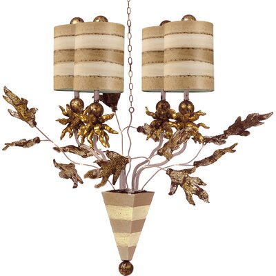 Borquez 4-Light Shaded Chandelier Finish: Putty/Cream