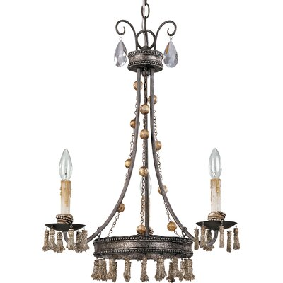 Tassel 3 Light Candle-Style Chandelier