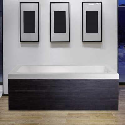 Pure 1D 67 x 31.5 Aquatica Back To Wall Stone Bathtub with Dark Decorative Wooden Side Panels