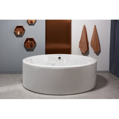 Allegra 74.75 x 74.75 Freestanding Whirlpool Bathtub