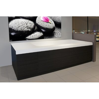 Pure 2D 82.75 x 31.5 Back To Wall Stone Bathtub with Dark Decorative Wooden Side Panels