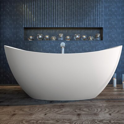 Purescape 72 x 39.25 Freestanding Soaking Bathtub